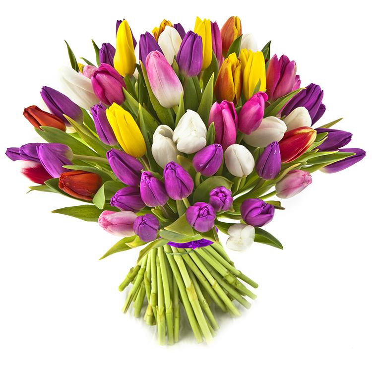Город, букеты тюльпаны 8 марта