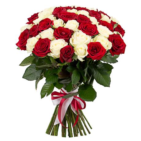 Букет розы красные и белые